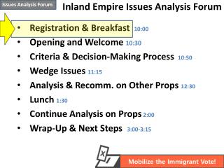 Inland Empire Issues Analysis Forum