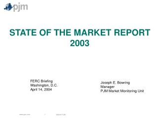STATE OF THE MARKET REPORT 2003