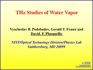 THz Studies of Water Vapor