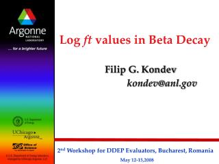 Log ft values in Beta Decay