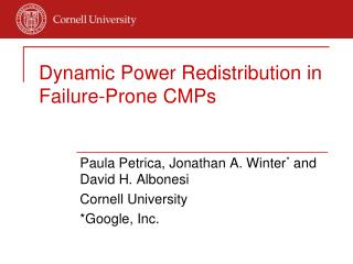 Dynamic Power Redistribution in Failure-Prone CMPs