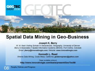 Title: Spatial Data Mining in Geo-Business