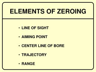 LINE OF SIGHT AIMING POINT CENTER LINE OF BORE TRAJECTORY RANGE