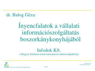 dr. Balog Géza:  Ínyencfalatok a vállalati információszolgáltatás boszorkánykonyhájából