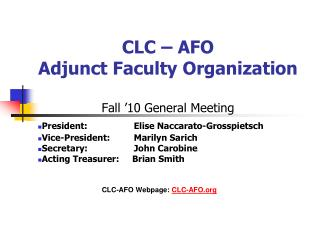 CLC – AFO Adjunct Faculty Organization