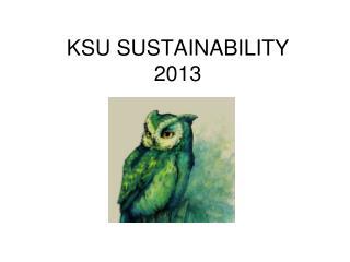 KSU SUSTAINABILITY 2013
