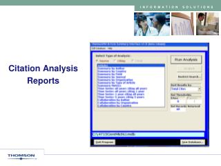 Citation Analysis  Reports