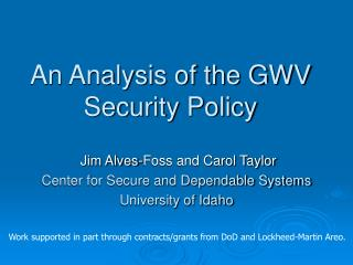 An Analysis of the GWV Security Policy