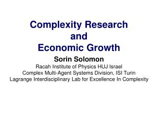 Complexity Research and Economic Growth