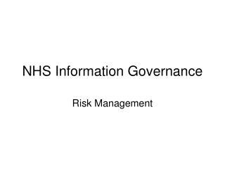 NHS Information Governance