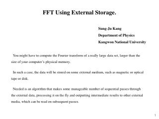 FFT Using External Storage.