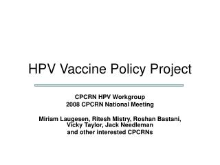 HPV Vaccine Policy Project