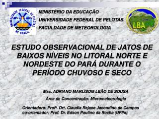 MINISTÉRIO DA EDUCAÇÃO UNIVERSIDADE FEDERAL DE PELOTAS FACULDADE DE METEOROLOGIA