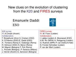 New clues on the evolution of clustering from the  K20  and  FIRES  surveys
