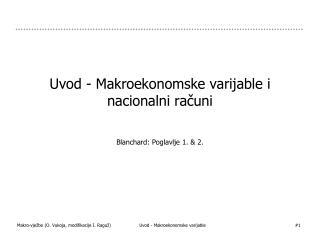 Uvod - Makroekonomske varijable i  nacionalni računi