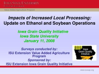 Impacts of Increased Local Processing: Update on Ethanol and Soybean Operations