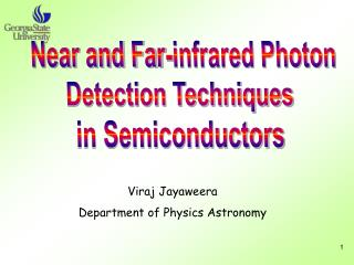 Viraj Jayaweera Department of Physics Astronomy