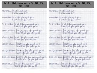 N11 – Relations entre 5, 10, 25, 50, 100