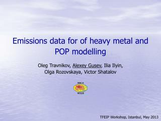 Emissions data for of heavy metal and POP modelling