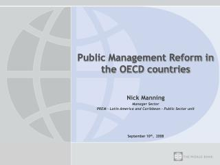 Public Management Reform in the OECD countries