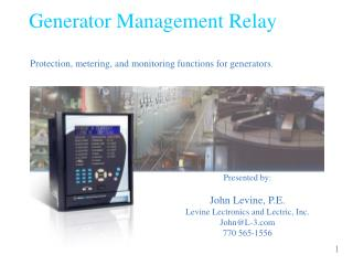 Generator Management Relay