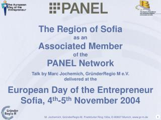 The Region of Sofia  as an  Associated Member  of the  PANEL Network