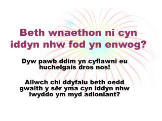 Beth wnaethon ni cyn iddyn nhw fod yn enwog?