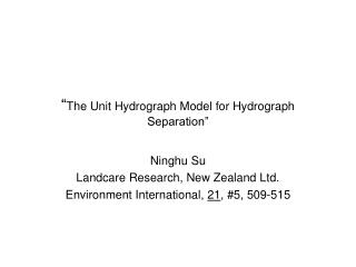 """ The Unit Hydrograph Model for Hydrograph Separation"""