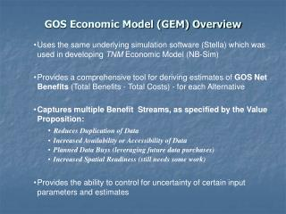 GOS Economic Model (GEM) Overview