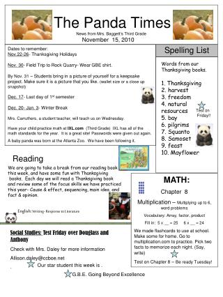 The Panda Times News from Mrs. Baggett's Third Grade