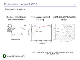 Photovoltaics. Lecture 6. CIGS.