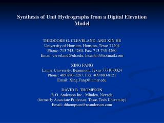 Synthesis of Unit Hydrographs from a Digital Elevation Model