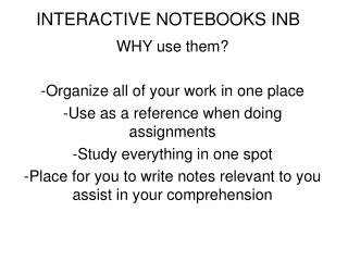 INTERACTIVE NOTEBOOKS INB