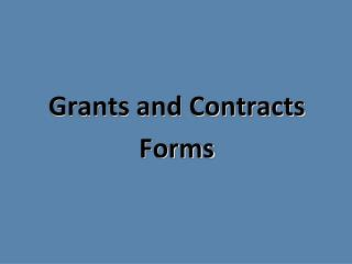 Grants and Contracts Forms