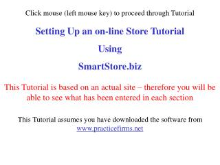 Setting Up an on-line Store Tutorial Using SmartStore