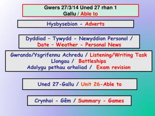 Gwers 27/3/14 Uned 27 rhan 1 Gallu /  Able to