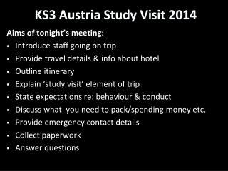 KS3 Austria Study Visit 2014