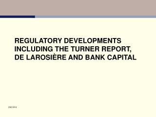 REGULATORY DEVELOPMENTS INCLUDING THE TURNER REPORT, DE LAROSI RE AND BANK CAPITAL