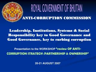 ROYAL GOVERNMENT OF BHUTAN