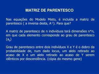 MATRIZ DE PARENTESCO