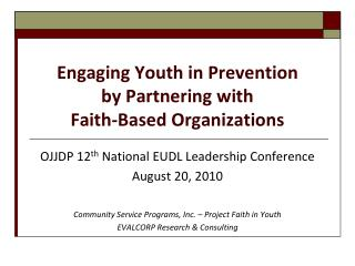 Engaging Youth in Prevention by Partnering with Faith-Based Organizations