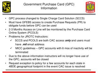 Government Purchase Card (GPC) Information