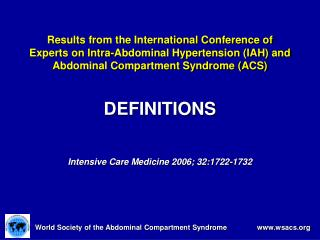 DEFINITIONS Intensive Care Medicine 2006; 32:1722-1732