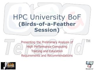 HPC University BoF (Birds-of-a-Feather Session)
