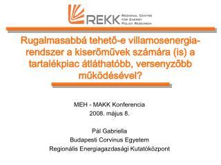 MEH - MAKK Konferencia 2008. május 8. Pál Gabriella Budapesti Corvinus Egyetem