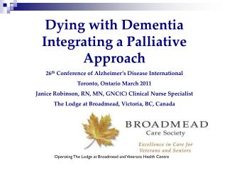 Dying with Dementia Integrating a Palliative Approach