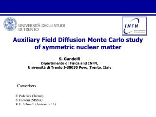 Auxiliary  Field Diffusion Monte Carlo study of symmetric nuclear matter