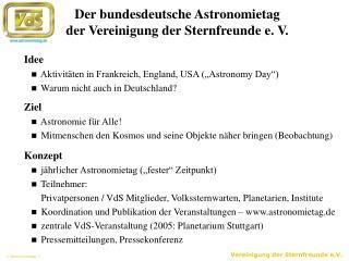 Der bundesdeutsche Astronomietag der Vereinigung der Sternfreunde e. V.