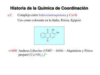 Historia de la Química de Coordinación