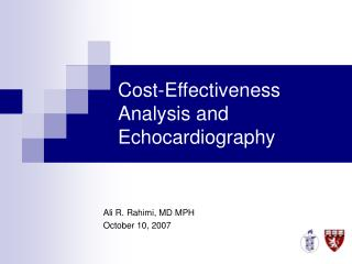 Cost-Effectiveness Analysis and Echocardiography